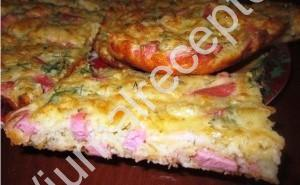 быстрый пирог с ветчиной и сыром фото