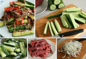 Огурцы с мясом по корейски