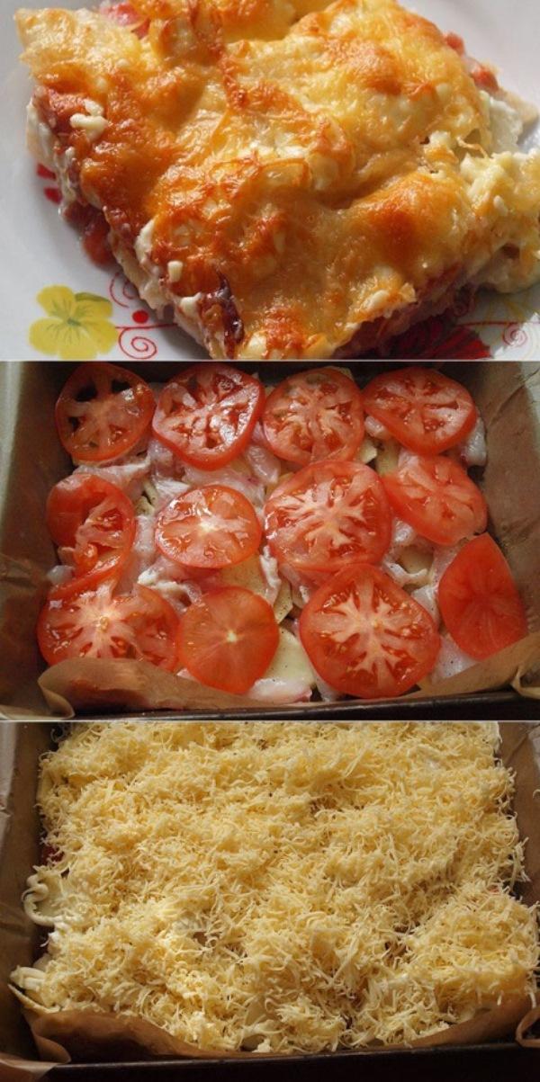 Картофельная запеканка с рыбой и овощами