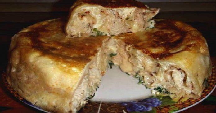 Пирог на кефире с курицей. Пойду опять за кефиром. Обалденно вкусно - попробуйте обязательно.