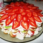 бисквитный клубничный торт с заварным кремом рецепт