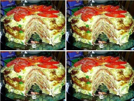 Кабачковый торт с томатом и чесноком