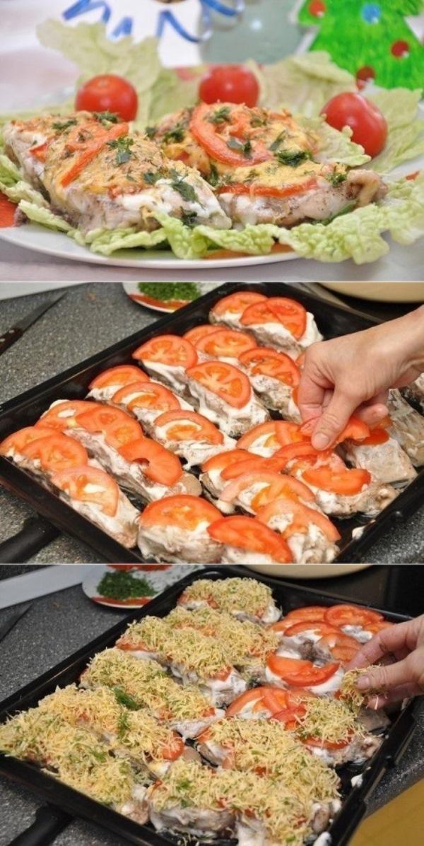 Рыбка с сыром и помидорами! Это блюдо на расхват! Пробуйте обязательно - станет главной фишкой Вашего стола!