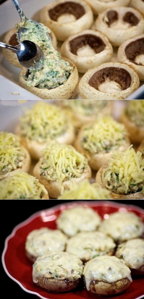 Шампиньоны с курицей и сыром, отменная закуска, Вашим домочадцам обязательно понравится.