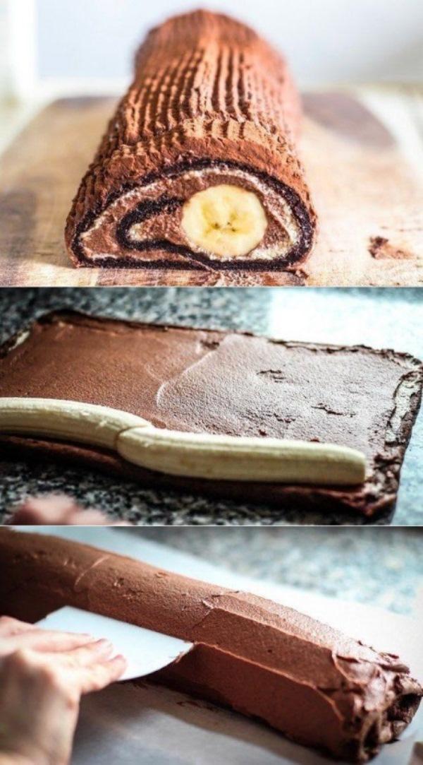 Шоколадно-банановый рулет за 30 минут   Это невероятно вкусно и невероятно красиво
