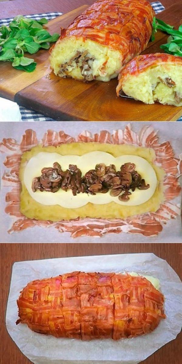 Картофельный пирог из бекона с грибами и сыром в духовке! Вы просто обалдеете какой он вкусный! Это всегда беспроигрышный вариант быстрого ужина.