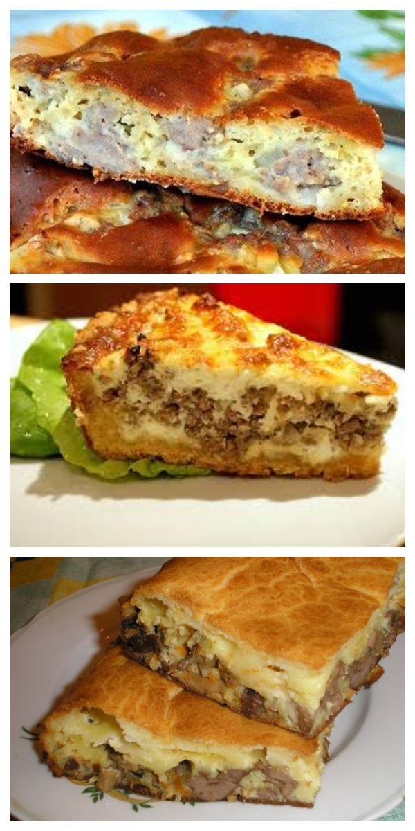 Семейное блюдо не имеющее соперников! Заливной пирог с мясным фаршем на кефире.